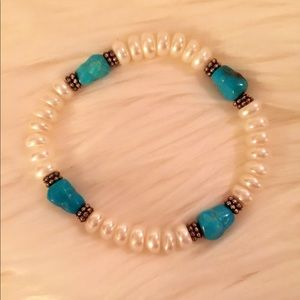 Honora Cultured Pearl & Turquoise Bracelet
